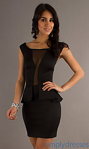 Buy Short Cap Sleeve Peplum Dress at SimplyDresses