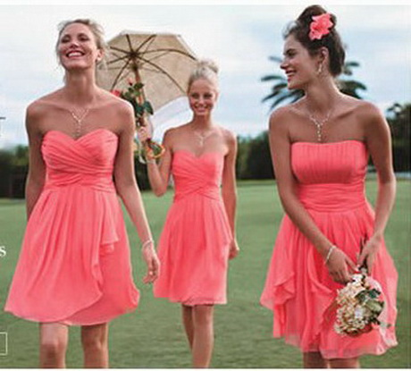 Coral colored bridesmaid dresses for Coral wedding bridesmaid dresses