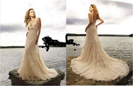 Cream lace wedding dress for Simple cream colored wedding dresses