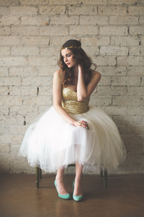 Gold Sequin Tulle Wedding Dress from Ouma