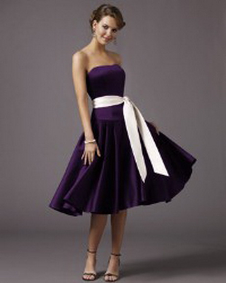 Deep Purple Wedding Dresses : Deep purple bridesmaid dress white bow