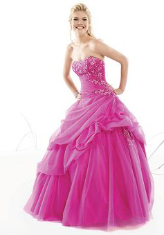 Ball Gown Sweetheart Floor Length Tulle Prom Dress style 33046