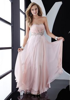 A-line Strapless Chiffon With Crystal Prom Dress PG00330