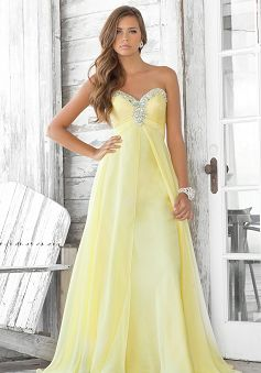 Dropped A-line Sweetheart Chiffon With Crystal Prom Dress PG00193