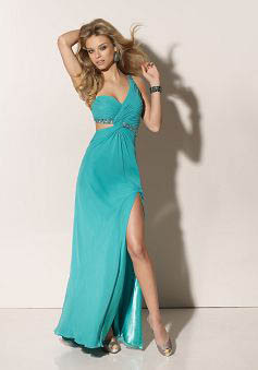 A-Line One Shoulder Sweep Train Chiffon Prom Dress style 33851