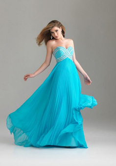 A-Line Strapless Sweetheart Sweep/Brush Train Chiffon Prom Dress style 33997