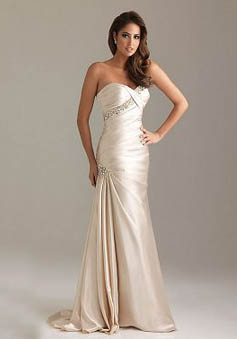 A-Line Strapless Sweetheart Sweep/Brush Train Elastic Silk-like Satin Prom Dress style 33972