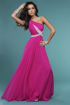 Princess One Shoulder Floor Length Chiffon Prom Dress style 34025