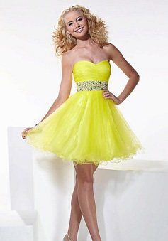 Fabulous A-line Sweetheart Mini Tulle Prom Dress style 34218