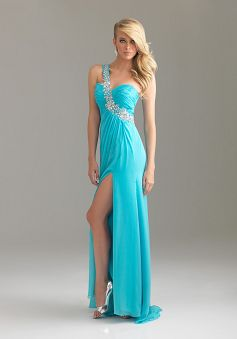 A-line Chiffon One Shoulder With Crystal Prom Dress PG00421