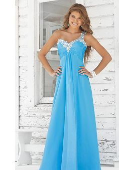 A-line One Shoulder Chiffon Dropped Prom Dress PG00187
