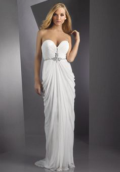 Sheath Strapless Floor Length Jersey Prom Dress style 33079