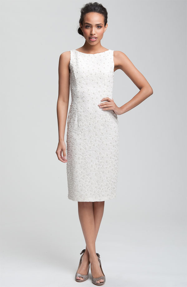 the little white dress carmen marc valvo bead and soutache embellished sheath dress short wedding dress white nordstrom dress party dress beaded white dress wedding party blog