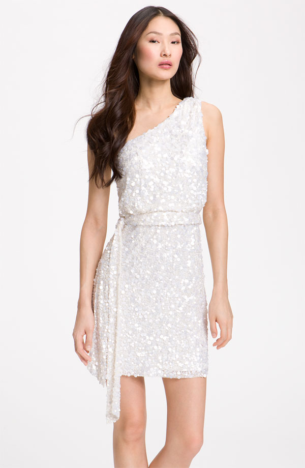 the little white dress aidan mattox sequin one shoulder dress nordstrom dress sequin white dress white party dress wedding party blog