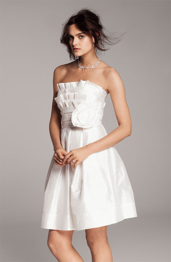the little white dress elia j origami pleat bordie fit and flare taffeta dress nordstrom dress white party dress short wedding dress bridal clothing wedding party blog