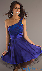 Buy One Shoulder Knee Length Dress at SimplyDresses