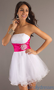 Buy Short Prom Dress With Embellished Waistline at SimplyDresses