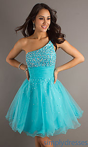 Buy One Shoulder Turquoise Dress at SimplyDresses