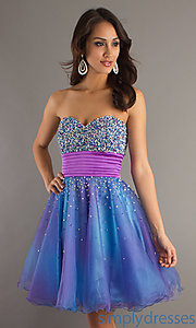 Buy Strapless Blue Short Dress at SimplyDresses