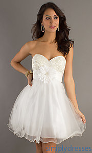 Buy Short Strapless Babydoll Dress 6723 at SimplyDresses