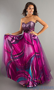 Buy Floor Length Strapless Sweetheart Print Dress at SimplyDresses