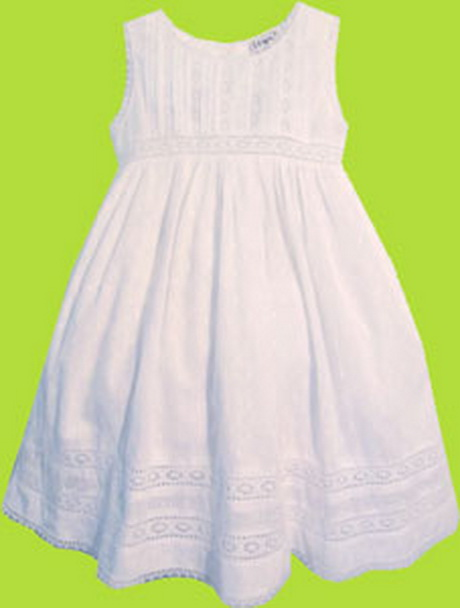 Girls White Cotton Dress