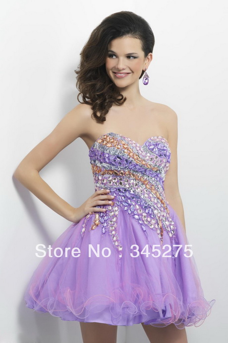 Lavender / Melon Net stones 8th grade graduation dresses 2013 Short ...