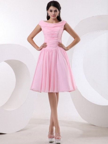 257.46 $99.58: Bateau Baby Pink Prom Dress With Ruched Bodice