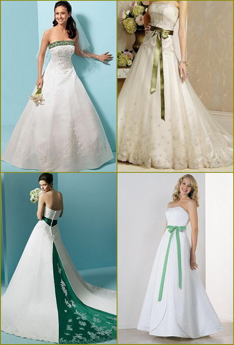 Wedding Dress Color Green : Green and white wedding dresses