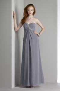 strapless charcoal sweetheart ankle length bridesmaid dress