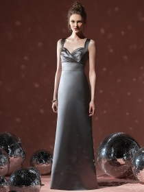 elegant gray sheath bridesmaid formal gown with wide straps and sweetheart neck