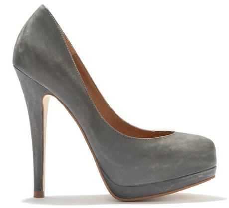 grey high heel shoes