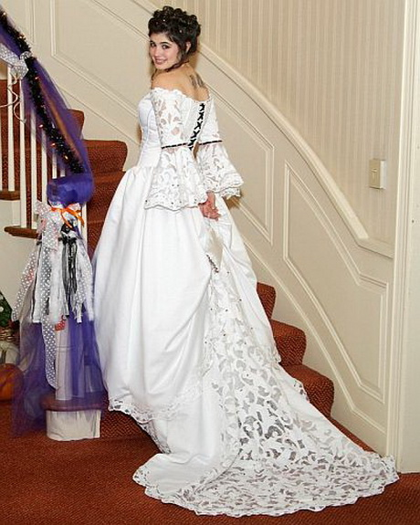 Ebony s halloween wedding dress with black lacing and cobweb train