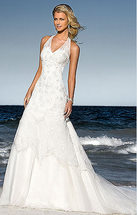 halter beach wedding dresses