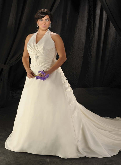 Halter style wedding gowns for Halter top wedding dresses plus size