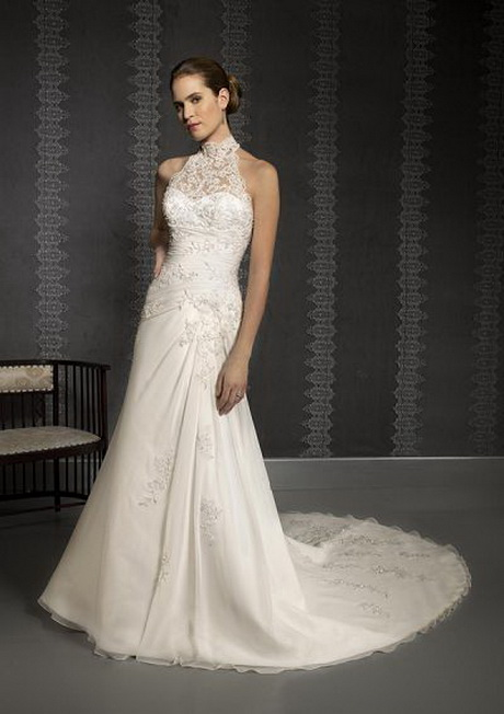 High neck lace wedding dress for Wedding dress with high collar