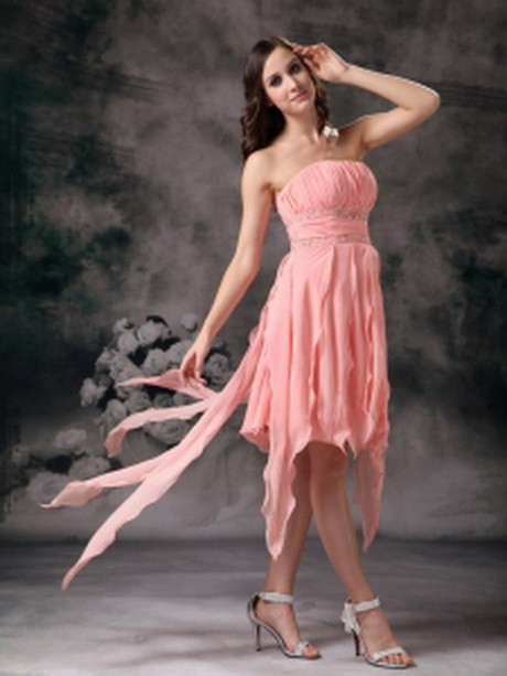 Watermelon Column Strapless Knee-length Chiffon Beading Prom Dress
