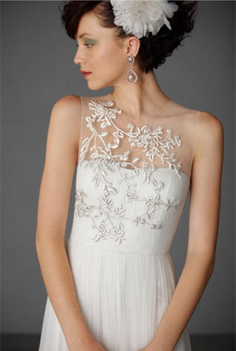 Illusion neckline wedding dress for Wedding dress with illusion top