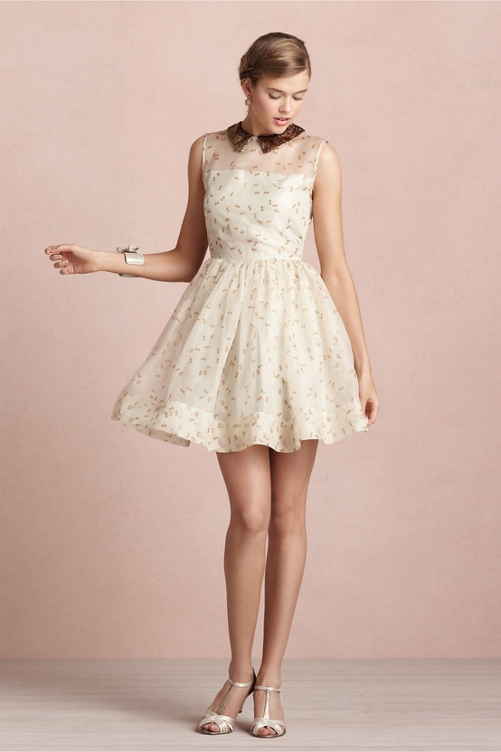 BHLDN Bronze Collared Ivory Dress