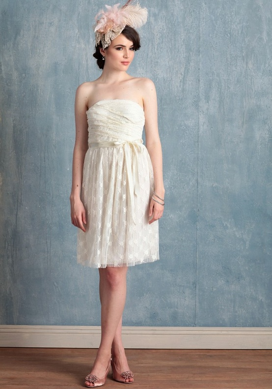 Ruche Short Ivory Lace Dress