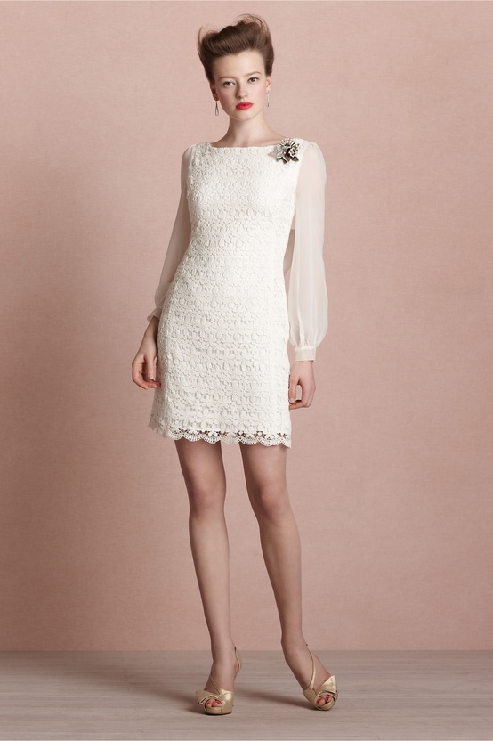 BHLDN Short Long Sleeve Ivory Dress