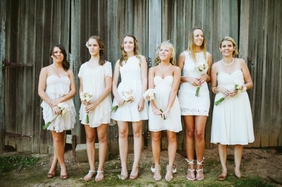 Rustic Ivory Mix and Match Bridesmaids Dresses