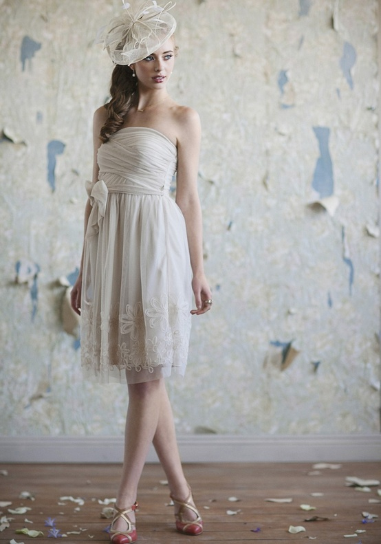 Ruche Short Ivory Dress