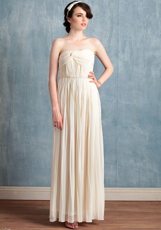 Ruche Long Ivory Dress