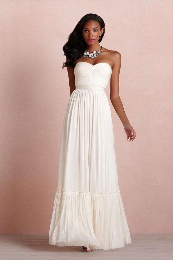 BHLDN Long Ivory Dress