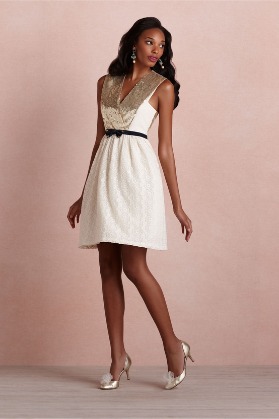 BHLDN Cute Short Ivory Bridesmaids Dress