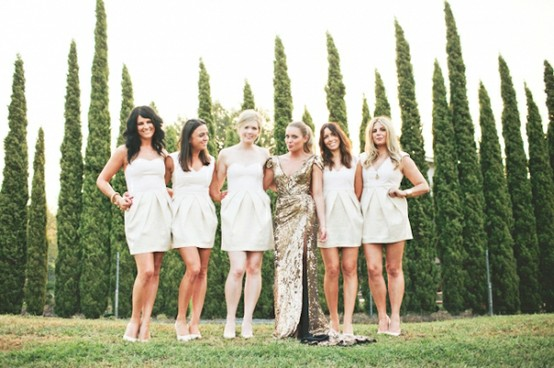 Sparkly Gold Bride with Ivory Bridesmaids