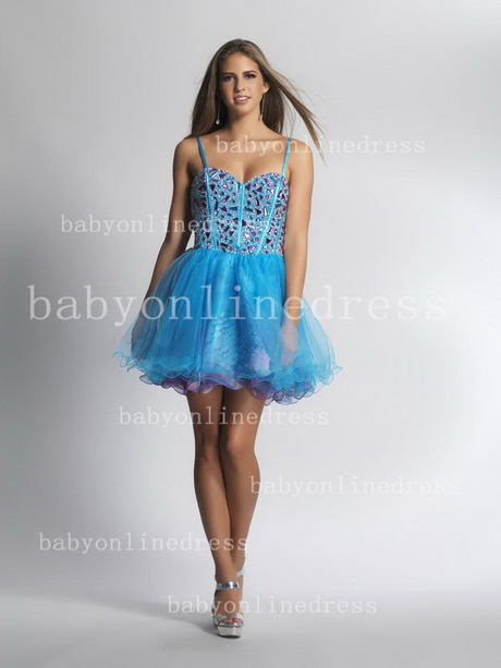 Juniors Plus Size Homecoming Dresses Blue Spaghetti Strap Beading ...