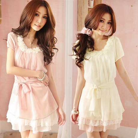 Fresh summer sweet lace chiffon one piece dress summer dress juniors