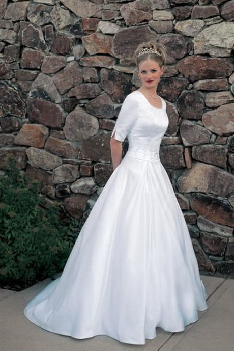 Modest white dresses for Mormon modest wedding dresses